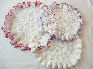 Doilies 3 Hand Crochet Round Roller Coaster Edge Assorted Sizes and Colors