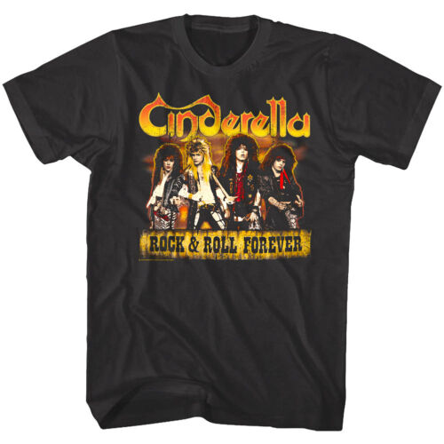 Cinderella Rock /& Roll Forever Album Cover Men/'s T Shirt Hair Metal Rock Band