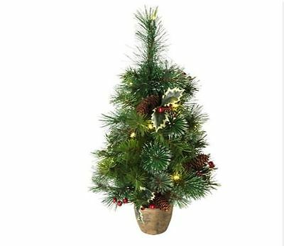 Artificial Christmas Tree Pre Lit Snow Tipped 2 Ft Gold Planter Battery Powered