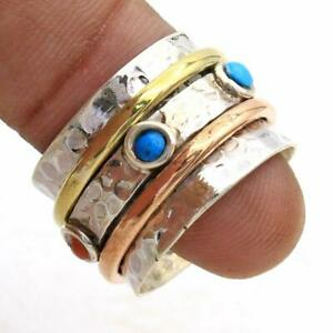 Turquoise-Solid-925-Sterling-Silver-Ring-Spinner-Meditation-Statement-Ring-7