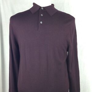 Brooks Brothers Men s Burgundy Polo Sweater Long Sleeve Ribbed ... 8a91ac3ed