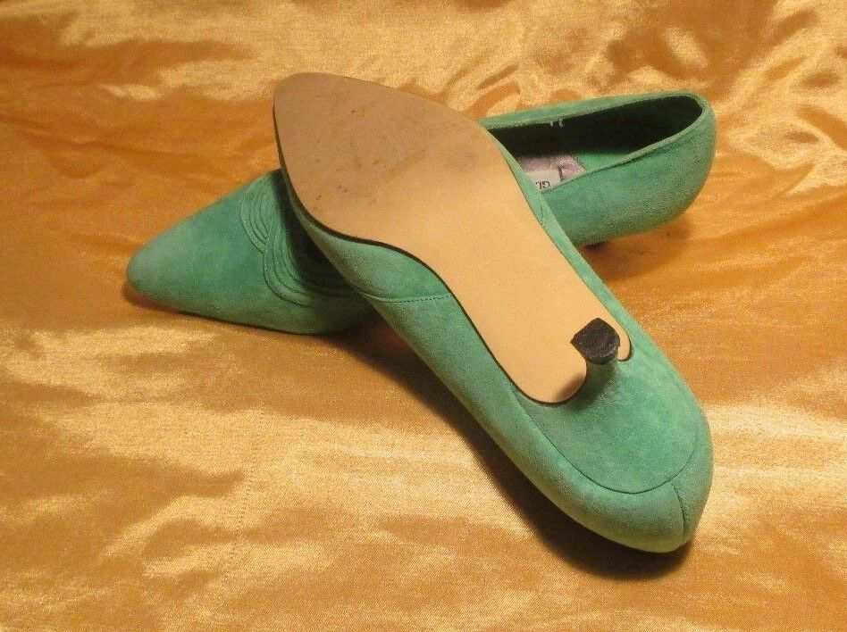 VERY AND ELEGANT GLORIA VANDERBILT LEATHER AND VERY SUEDE  SHOES GREEN SIZE 7-1/2 M d8dbcf
