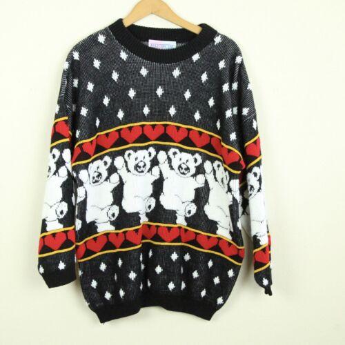 black jumper knitwear 90s green red music hearts KK04419 Vintage Sweater 80s Vintage Knit Pullover