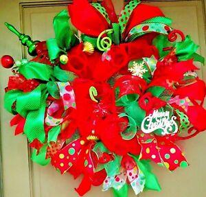 Christmas-Wreath-with-Deco-Mesh-Lights-amp-Ornaments-24-034-LED-Lit-Door-Decor