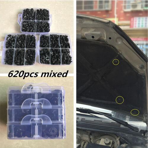 620pcs 16 Sizes Mixed For Car Body Push Pin Rivet Clips Fastener Moulding Trim