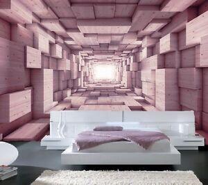 PAPIER PEINT 3D TROMPE L\' OEIL #PHOTO MURALE RELIEF 3D BOIS MODERNE ...