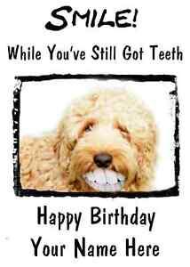 Image Is Loading Labradoodle Dog Happy Birthday Card Smile Teeth 50