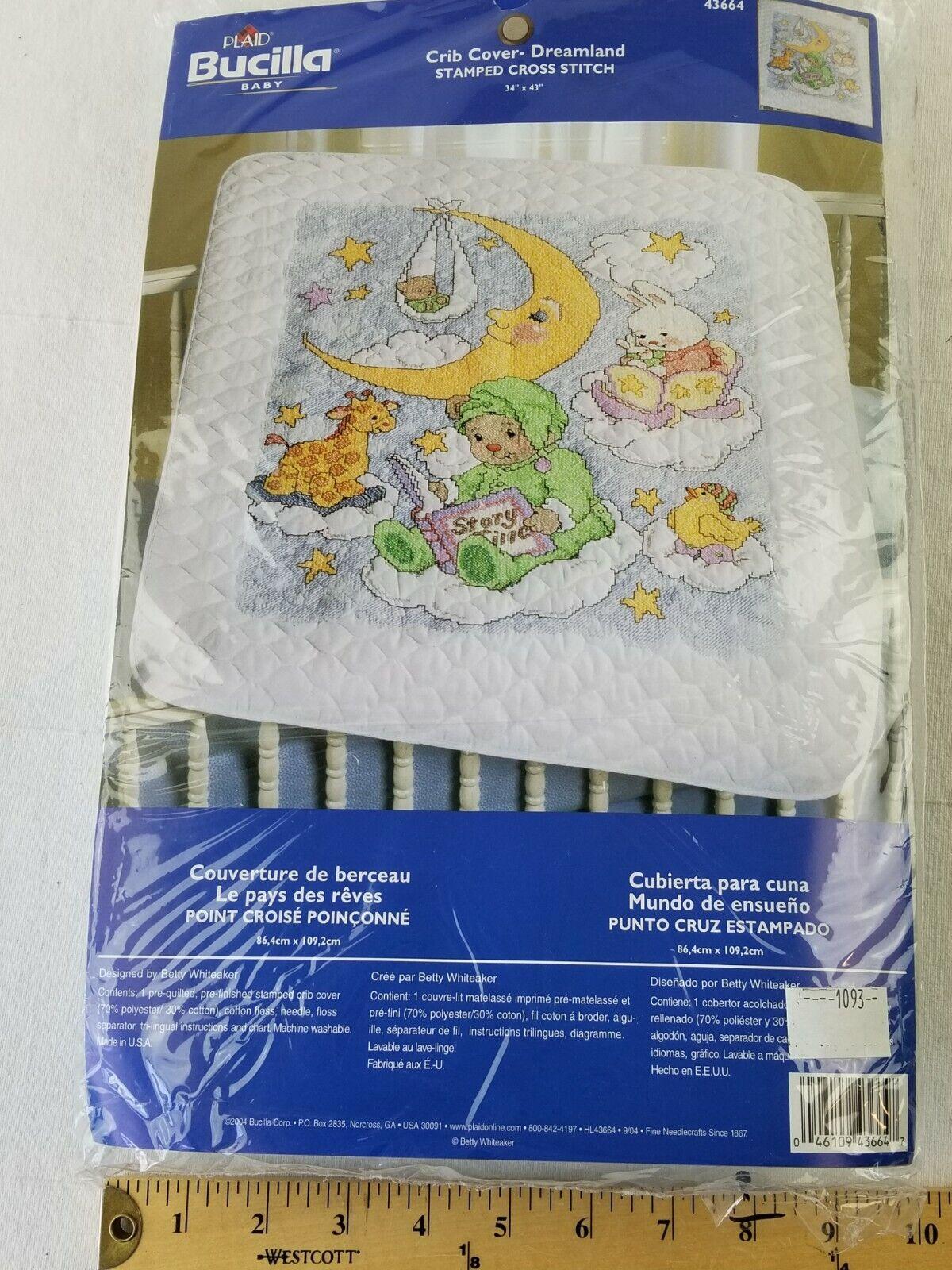 "Bucilla Stamped Cross Stitch Crib Cover Kit On The Farm 34/"" X 34/"" NEW"