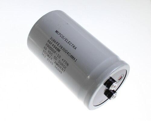 MEPCO 39000uF 40V Aluminum Electrolytic Large Can Capacitor 3186FE393U040AMA1