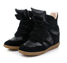 sn5 CFLB Women's Ladies Leather High Top Wedge Sneakers Ankle Boots 7 7.5 8 9