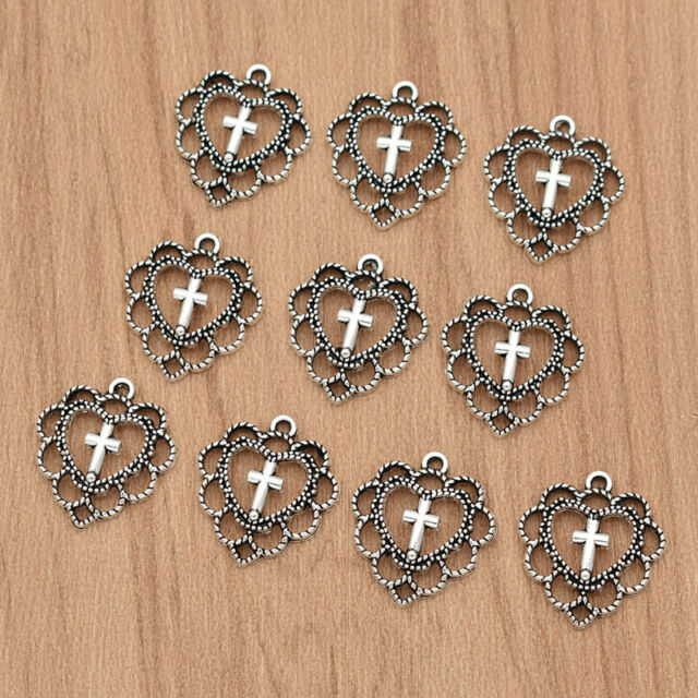 4 pcs Antiqued Bronze Alloy Cross Shaped Charms Pendant Crafts Jewelry Making