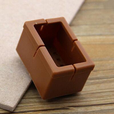 10x Rectangular Brown Chair Leg Floor Protector Rubber Furniture Feet Pad L