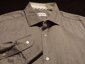 Robert-Graham-Mens-sz-16-5-Long-Sleeve-Button-Front-Cotton-Gray-Striped-Shirt