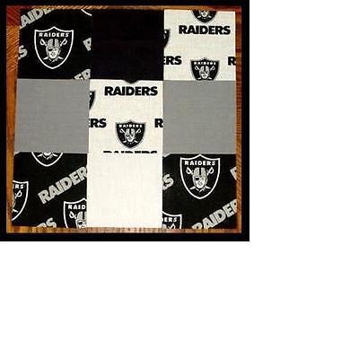"50 4"" Oakland Raiders  Cotton Quilt Fabric Squares Kit"