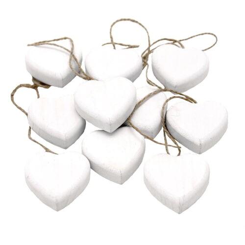 5cm blanco 5cm x1 10 x madera corazón Dick para colgar con jutekordel!!!