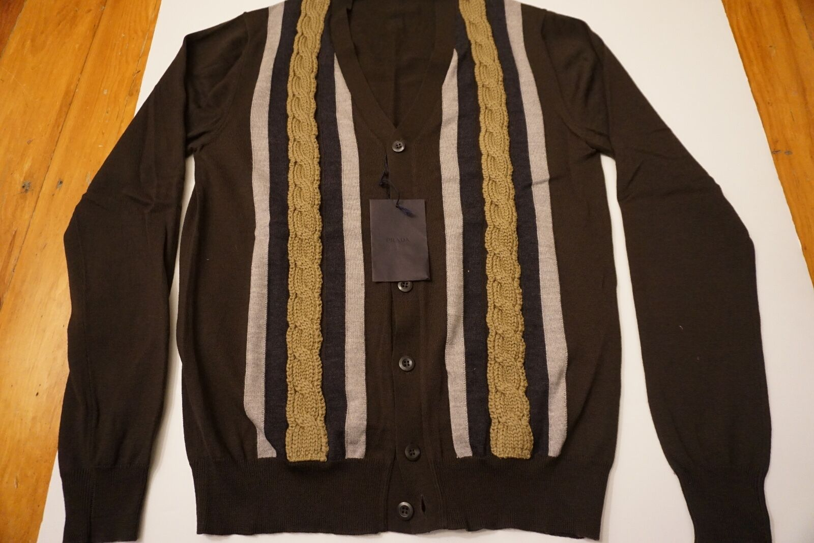 New Men Prada Miu Braun Cardigan Sweather sz M (50) from Saks Neiman Marcus 795