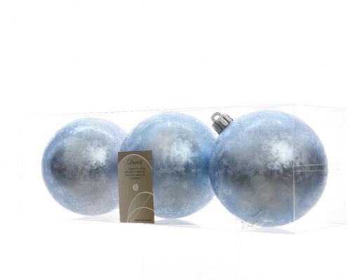 6 x Ice Blue Christmas Tree Baubles Suspendu Décorations pour arbres de Noël 8 cm