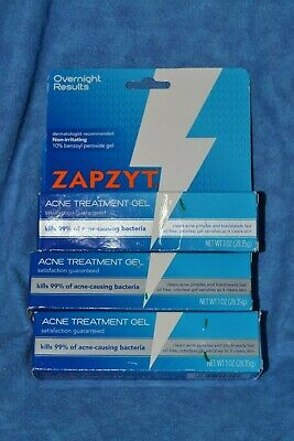 Lot Of 3 Tubes Zapzyt Acne Gel Treatment 10 Benzoyl Peroxide Ebay