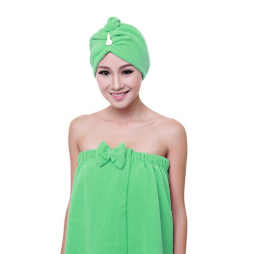 2 tlg Turban+Duschtuch Schnelltrocknend Haar Turban Kopftuch Handtuch Badetuch