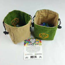 Third Die Dice Bags - Handmade, Reversible, Free Standing Closes Tight - Green