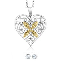 Gorgeous Accent Diamond 1 Inch Heart Pendant Necklace With 18 Inch Chain