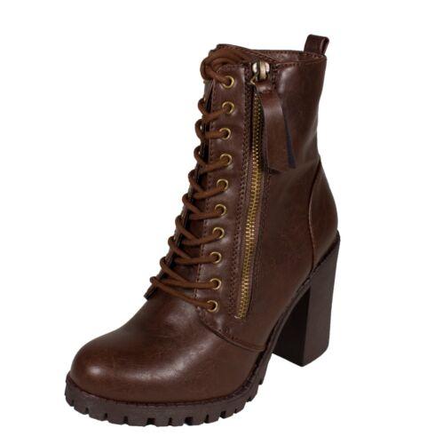 MALIA Soda Women/'s Military Lace Up Zipper Blocked Heel Combat Ankle Boots