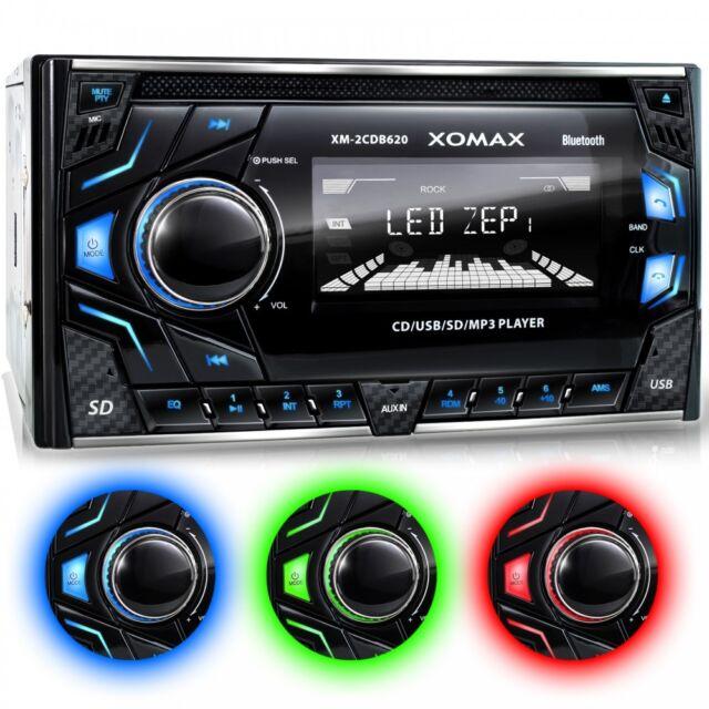 AUTORADIO CON LETTORE CD BLUETOOTH VIVAVOCE 3 COLORI USB SD AUX MP3 DOPPIO 2DIN