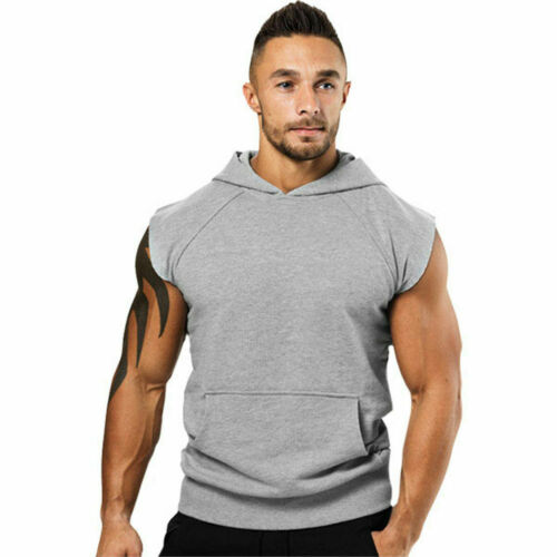 Men Hooded Sleeveless Vest Tank T-Shirt Sweatshirt Gym Sport Muscle Top Outfits