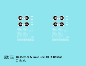 K4 O Decals Bessemer and Lake Erie 40 Ft Boxcar White