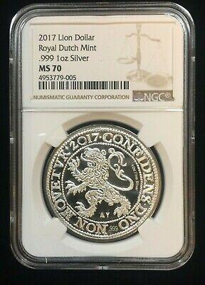 2018 Netherlands 1 oz Silver Lion Dollar NGC GEM Proof FR Black Core SKU53457