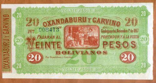 1867 Argentina P-S1778 aUNC-UNC 20 Pesos Oxandaburu y Garvino