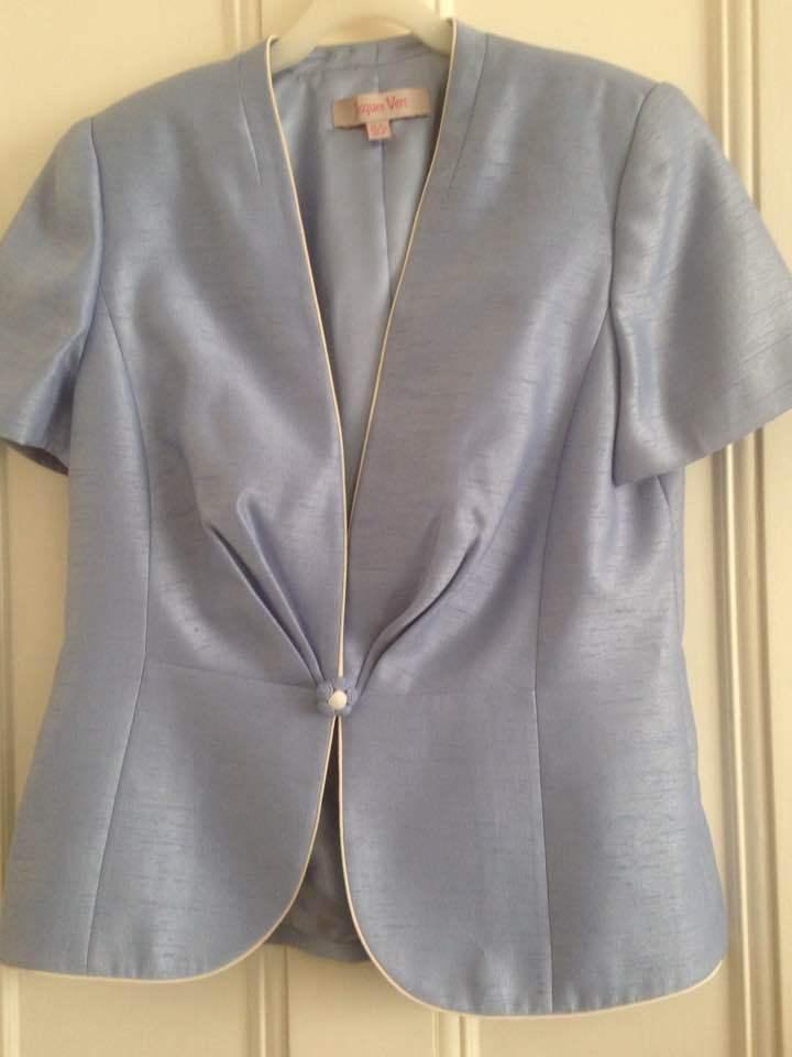 Jaques Vert Wedding/Occasion slub silk jacket in powder blue. Exc cond'
