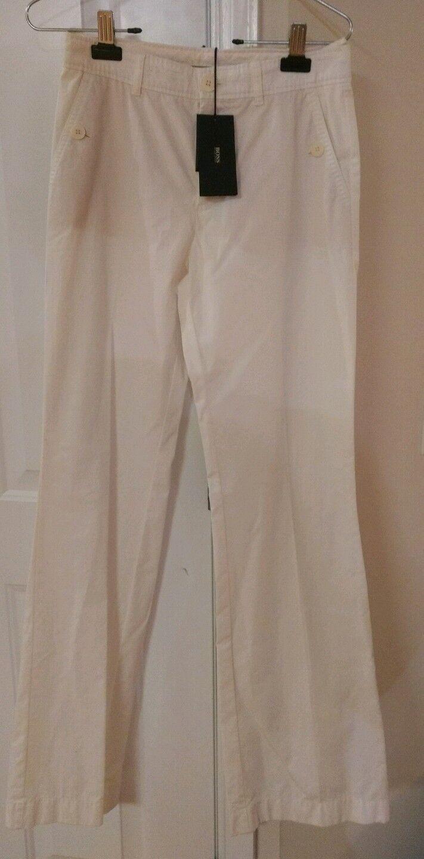 NWT HUGO BOSS White Neira5 PANTS Womens Size  2 Cotton Wide Leg  275.00