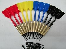 12 Plastic Soft Tip Brass Dart Set 4 sets 15 extra tips BLUE RED YELLOW BLACK