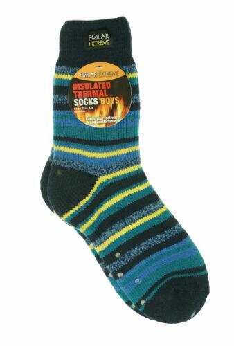 Polar Extreme Boy/'s Insulated Thermal Striped Crew Socks Blue Yellow Stripes