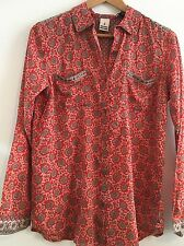MAISON SCOTCH RED COTTON GOLD STUDDED PAISLEY STYLE SHIRT SZ 1,2,3 rp£99