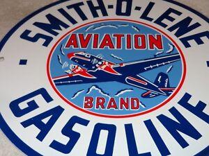 VINTAGE-SMITH-O-LENE-AVIATION-AIRPLANE-11-3-4-034-PORCELAIN-METAL-GASOLINE-OIL-SIGN
