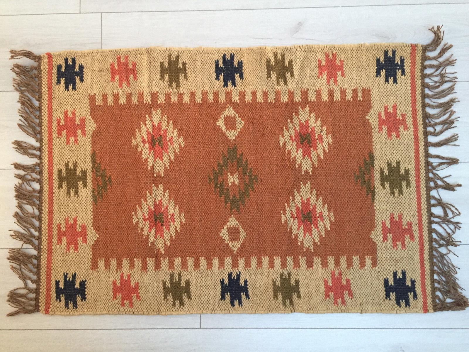 Piccolo Kilim Tappeto di Lana Iuta Iuta Iuta Indiano 60x90cm 0.6x0.9m Kelim Arancione 91ef97