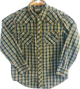 Cowboy-Up-Mens-L-Shirt-Brown-Plaid-Long-Sleeve-Pearl-Snap-Western-Rodeo-Shirt