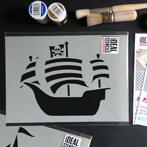 Barco-Pirata-Estarcido-Nautico-Papel-Pintado-Hogar-Pintura-Decoracion