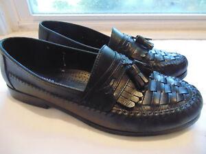Détails sur Stafford Noir Tassel Chaussures à Enfiler Taille 12 M (D) Tissé Cuir Mocassins Robe afficher le titre d'origine