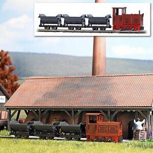 H0f Startset Feldbahn LKM Ns2f braun mit 3 Kipploren OVP Busch 12006