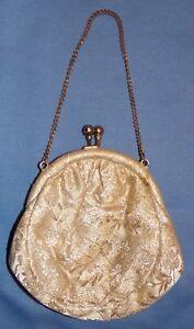 blanco correa tela mano cadena floral Brocade de bolso formal de con q7tggA