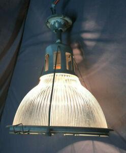Vintage-Cage-Industrial-Holophane-Ceiling-Light-Fixture-Factory-Work-360-19L