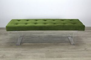 Pleasant Details About Minimalist Style Lucite Bench With Green Velvet Cushion Machost Co Dining Chair Design Ideas Machostcouk