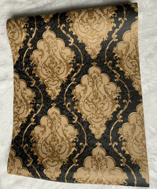 Luxury Heavy Victorian Damask Wallpaper 3d Embossed Black Gold