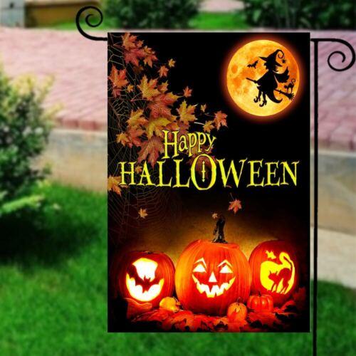 """18/""""x12/"""" Happy Halloween Pumpkin Witch Bat Cat Garden Flag Yard Banner Decor"""