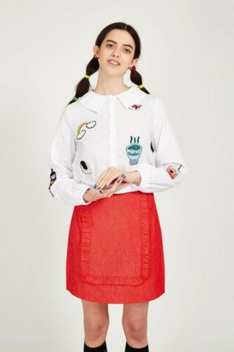 The whitepepper hipster frill chemise avec motif patches ivoire