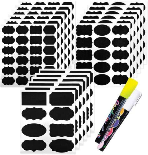 173x Tafelfolie Etiketten Kreidefolie Aufkleber Label Sticker mit 2 Kreidestifte