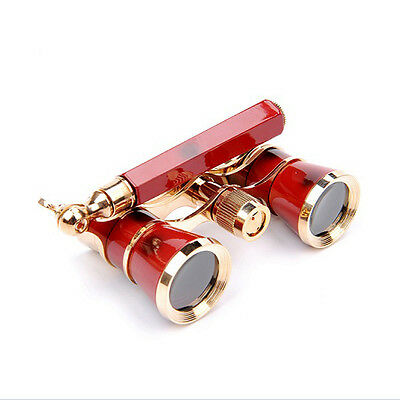 Red Collectable Exquisite 3x25 Opera/Theater Glasses Brass Binoculars Coated Len